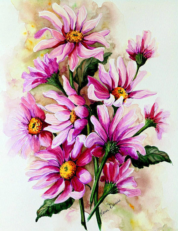 Pink Daisy Floral Painting Flower Painting Botanical Painting Bloom Painting Greeting Card Painting Art Print featuring the painting So Pink by Karin Dawn Kelshall- Best
