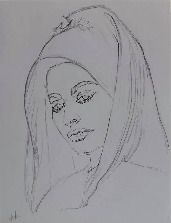 Woman Art Print featuring the drawing Sophia Loren In Headdress by Sean Connolly