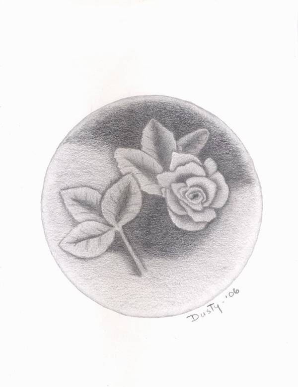 Rose Art Print featuring the drawing Stone Rose by Dusty Reed