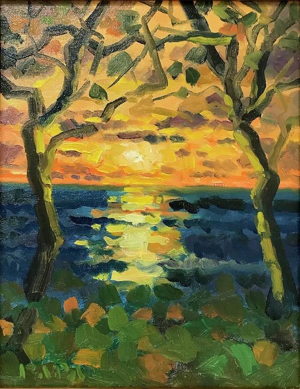 Sunrise Art Print featuring the painting Sunrise at Jupiter 2019 by Ralph Papa