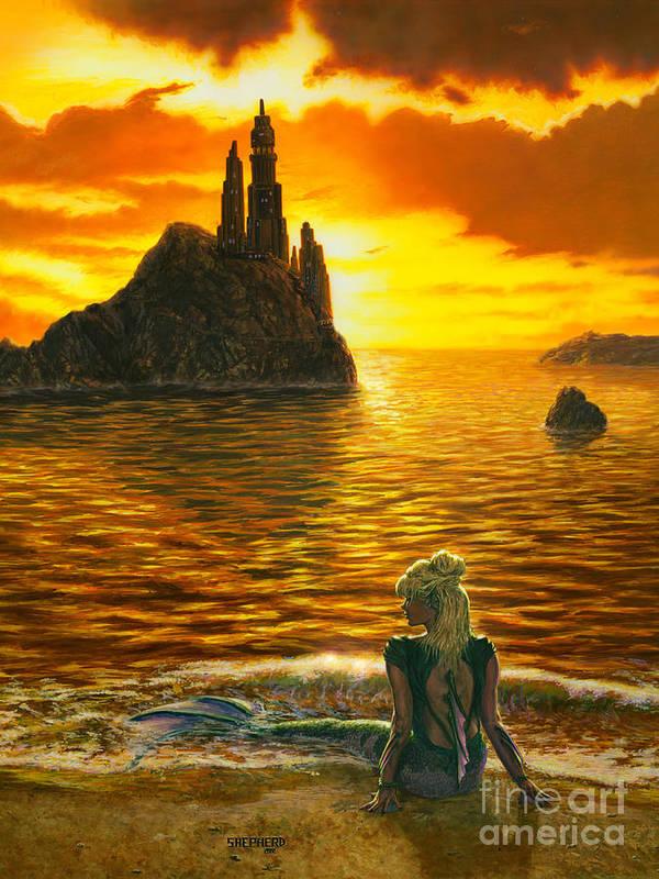 Mermaid Art Print featuring the painting The Golden Girl by Stu Shepherd