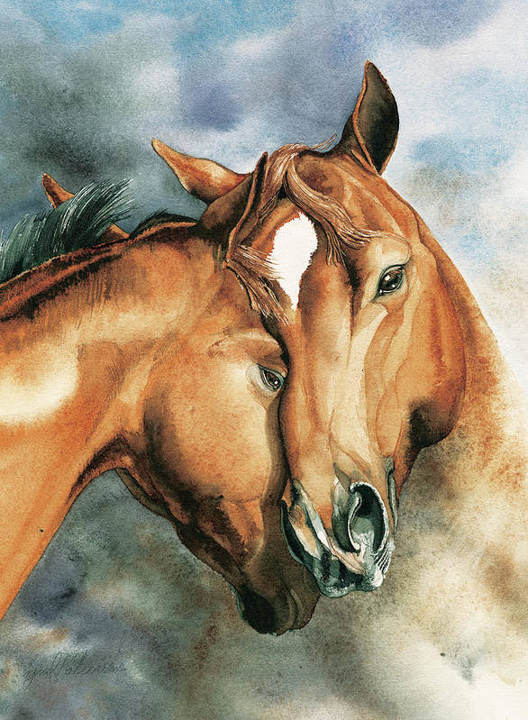 Horses Art Print featuring the painting The Hug by Ingrid Kostron