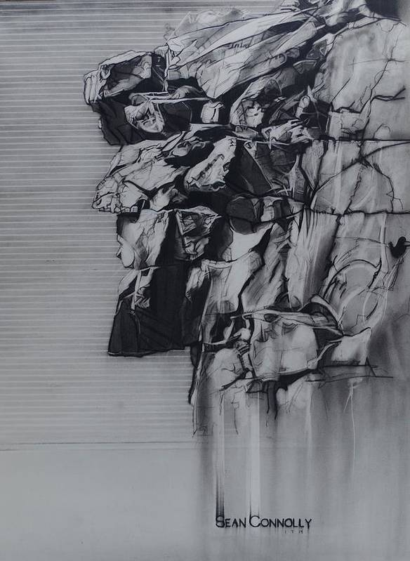 Charcoal On Paper Art Print featuring the drawing The Old Man Of The Mountain by Sean Connolly