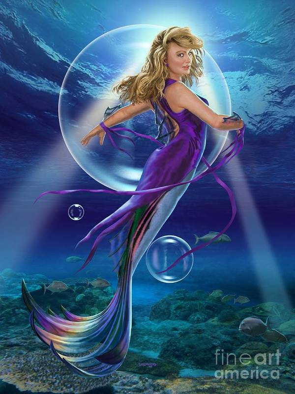 Mermaid Art Print featuring the digital art The SeaDancer by Stu Shepherd