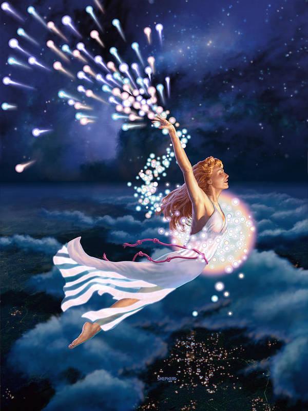 Stardancer Art Print featuring the digital art The Stardancer by Stu Shepherd