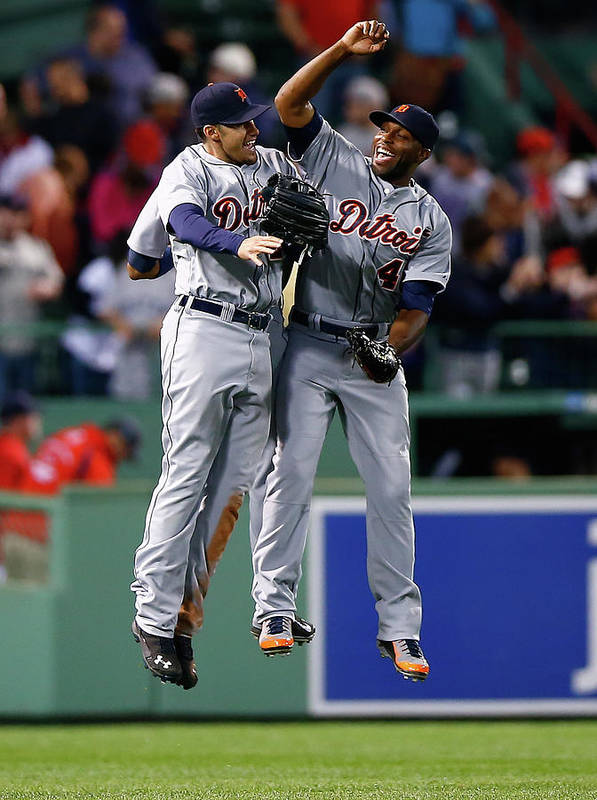 American League Baseball Art Print featuring the photograph Torii Hunter and Austin Jackson by Jared Wickerham