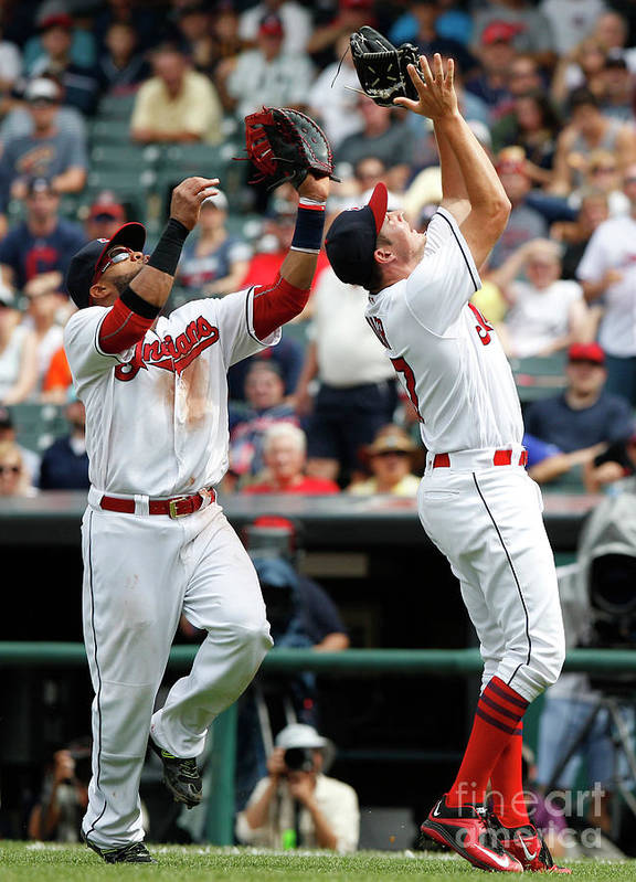 People Art Print featuring the photograph Trevor Bauer and Carlos Santana by David Maxwell