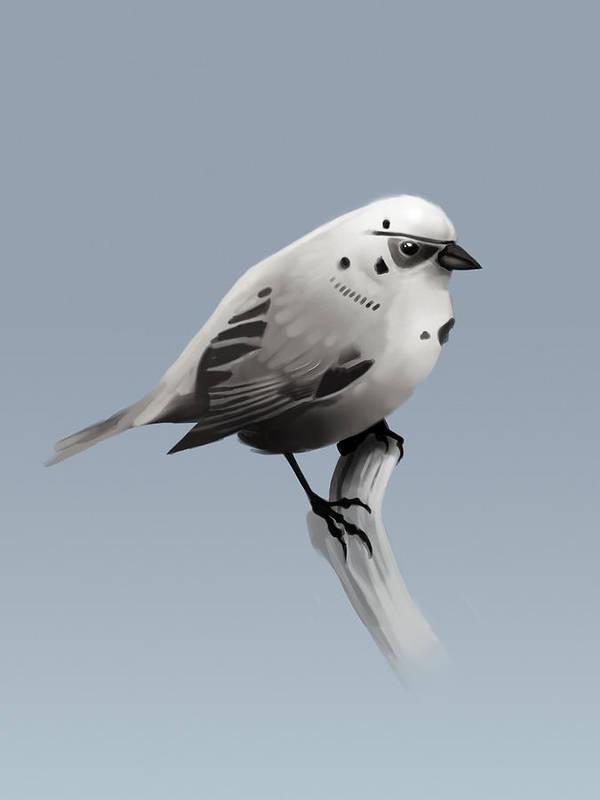 Birds Art Print featuring the digital art Trooper Bird Flipped by Michael Myers