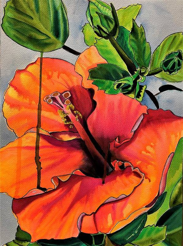 Orange Art Print featuring the painting Tropical Hibiscus by Sacha Grossel