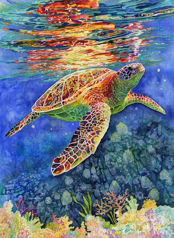 Turtle Art Print featuring the painting Turtle Reflections by Hailey E Herrera