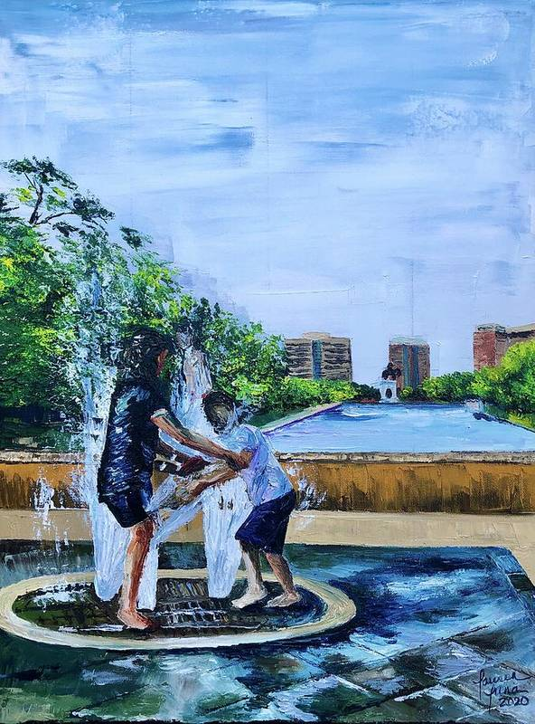 Hermann Park Art Print featuring the painting UnADULTurated Fun by Lauren Luna