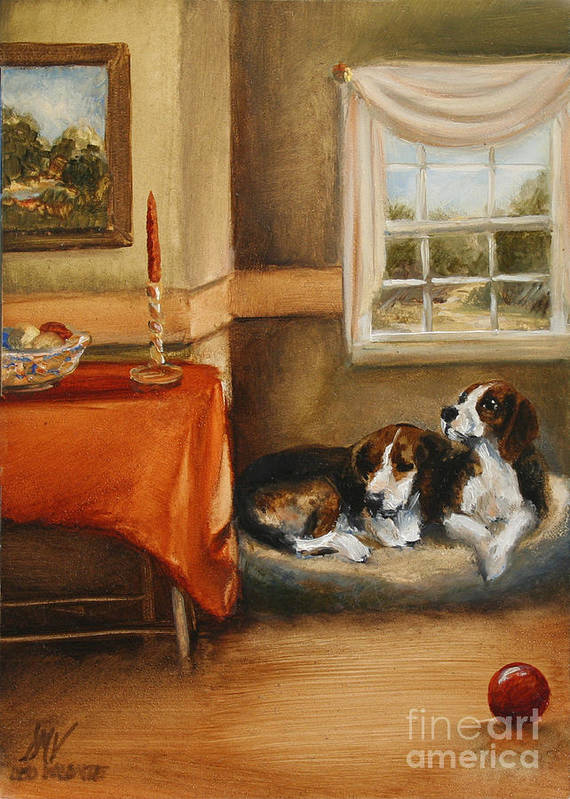 Beagle Art Print featuring the painting Waiting For The Mistress by Stella Violano