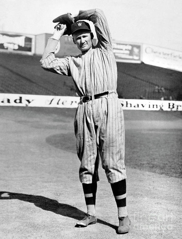 American League Baseball Art Print featuring the photograph Walter Johnson by National Baseball Hall Of Fame Library