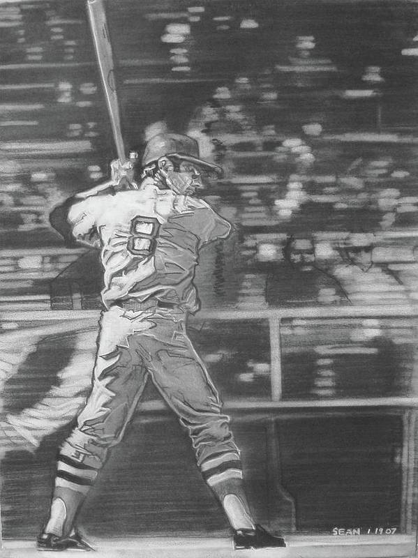 Charcoal On Paper Art Print featuring the drawing Yaz - Carl Yastrzemski by Sean Connolly