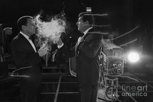 Frank Sinatra And Dean Martin On A TV Set by The Titanic Project