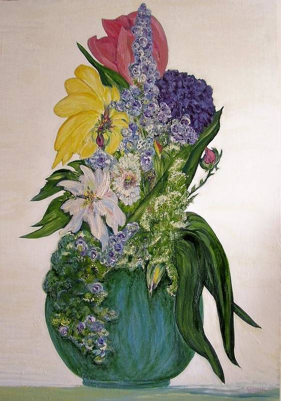 Jade Vase Art Print featuring the painting Jade Vase by Mary ann Barker