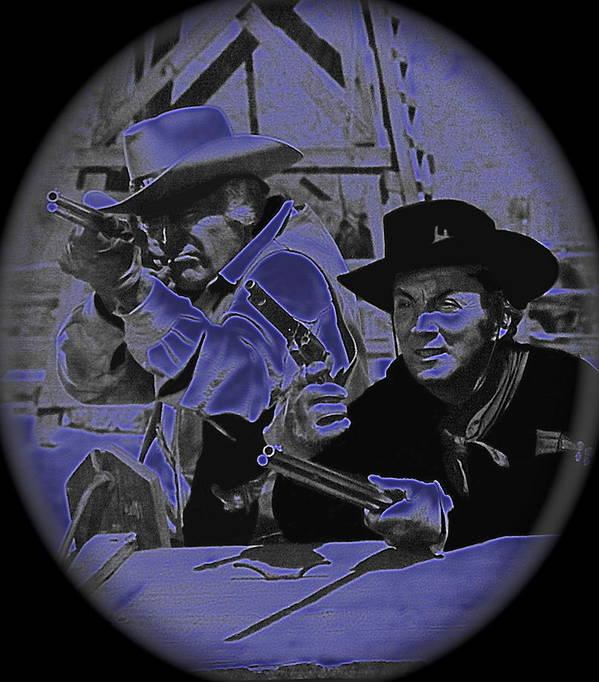 Leif Erickson And Cameron Mitchell The High Chaparral Old Tucson Arizona Howard Hawks Frances Farmer John Ford John Wayne Robert Montgomery Fighting Attacking Apaches Art Print featuring the photograph Leif Erickson And Cameron Mitchell The High Chaparral Old Tucson Arizona 1969 by David Lee Guss