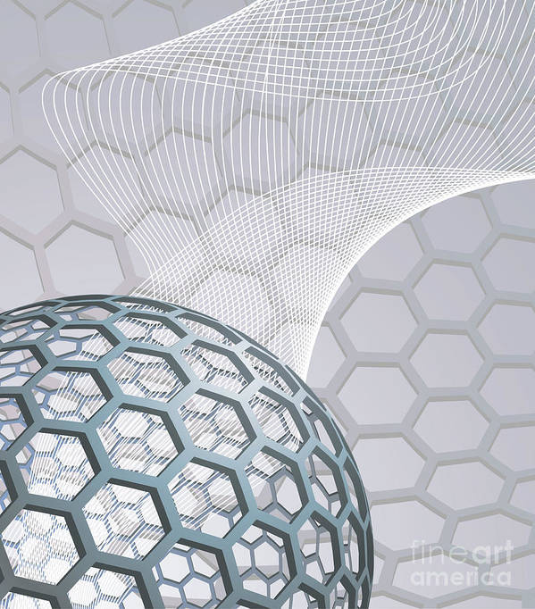 Buckminsterfullerene Art Print featuring the mixed media Abstract Background With Buckyball by Christos Georghiou