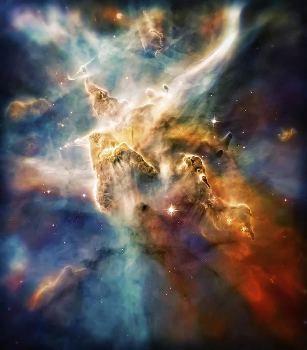 Universe Art Print featuring the photograph Cool Carina Nebula Pillar 4 by Jennifer Rondinelli Reilly - Fine Art Photography