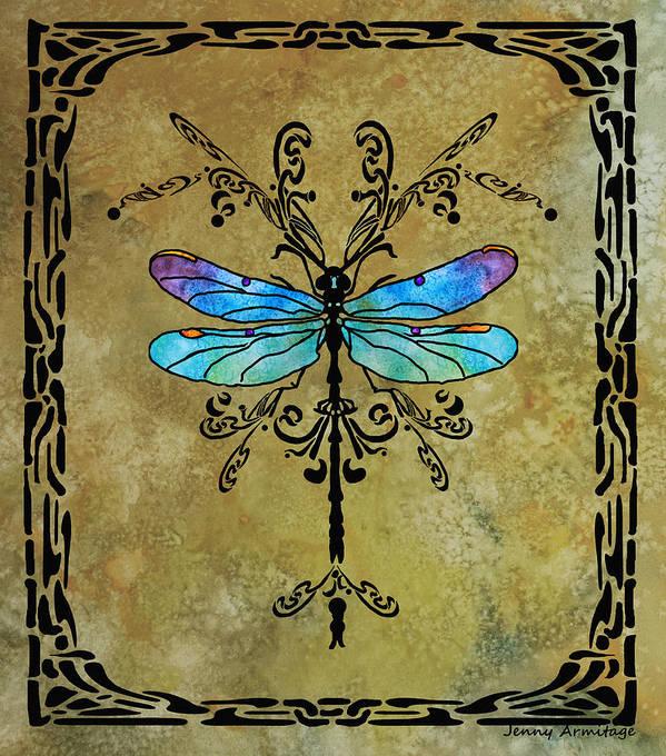 Dragon Print featuring the digital art Damselfly Nouveau by Jenny Armitage