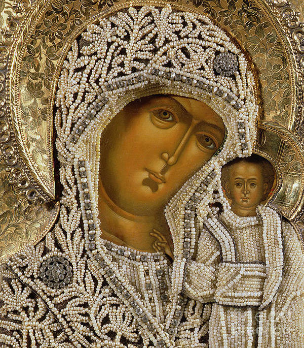 Black Madonna; Pearl; Negro Art Print featuring the mixed media Detail Of An Icon Showing The Virgin Of Kazan By Yegor Petrov by Russian School