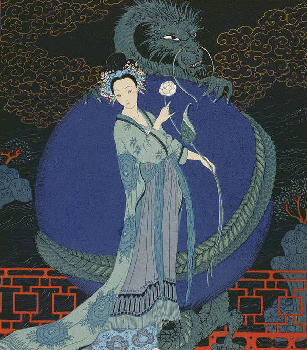 Oriental Art Print featuring the painting Lady With A Dragon by Georges Barbier