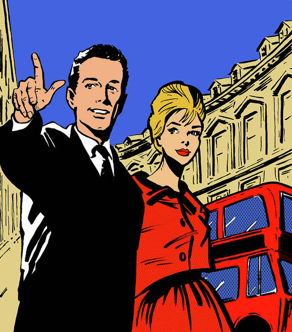 Young Men Art Print featuring the digital art Retro Couple Sightseeing In London by Jacquie Boyd