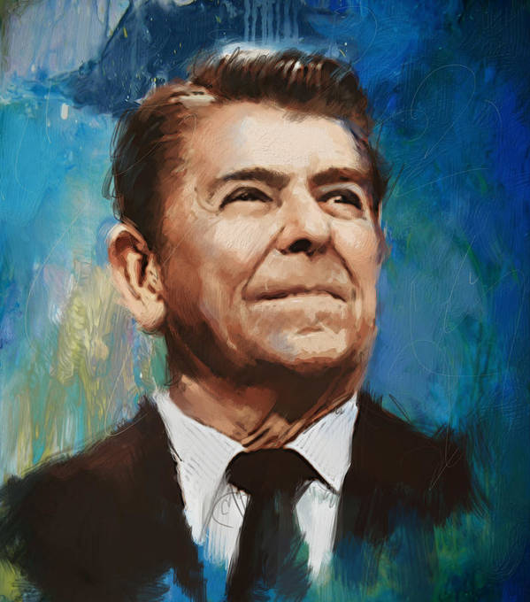 Rancho Del Cielo Print featuring the painting Ronald Reagan Portrait 6 by Corporate Art Task Force