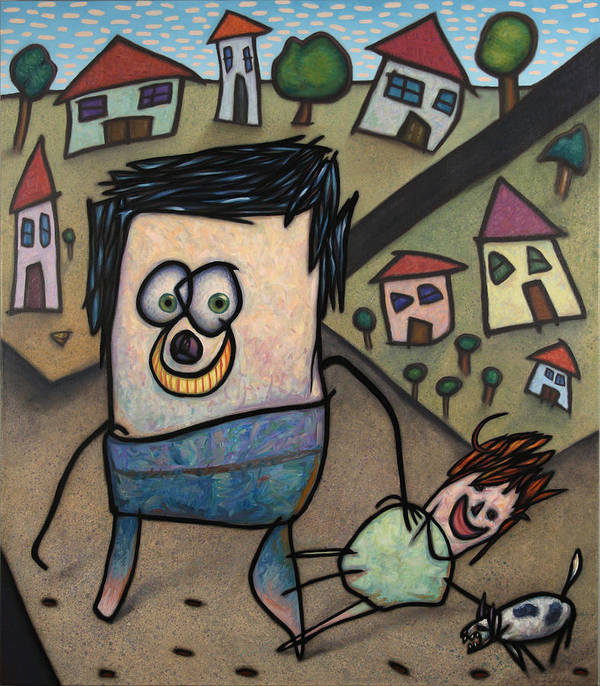 Funny Art Print featuring the painting Walkin The Dog by James W Johnson