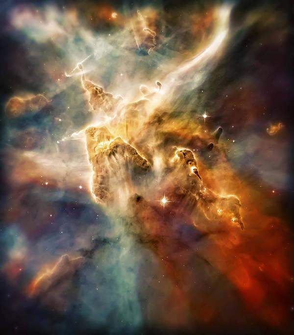 Universe Art Print featuring the photograph Warm Carina Nebula Pillar 3 by Jennifer Rondinelli Reilly - Fine Art Photography