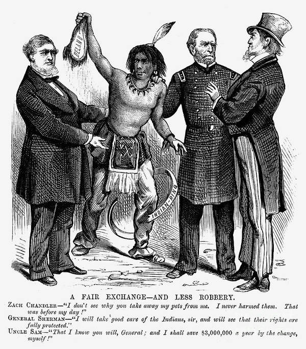 1876 Art Print featuring the photograph Cartoon: Native Americans, 1876 by Granger