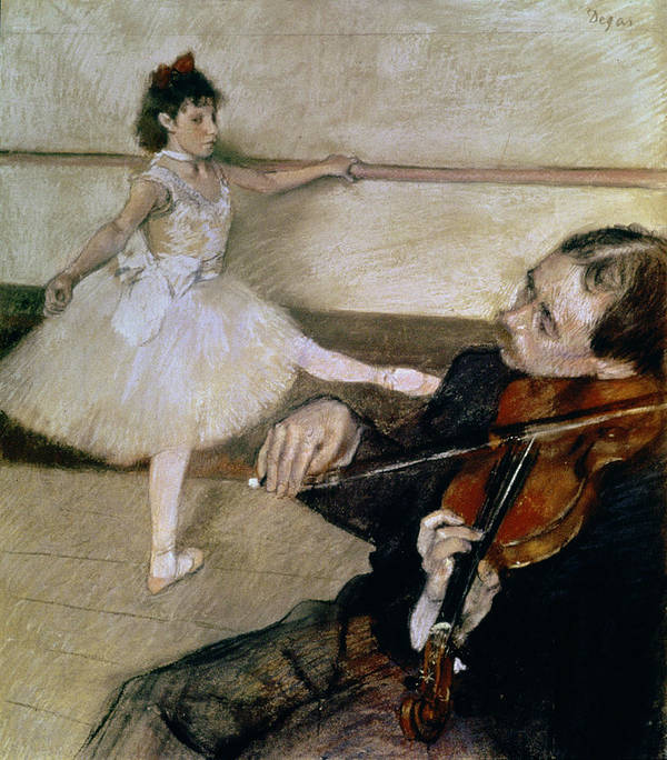 Dancing; Learning; Ballet; Music; Violin; Tutu; Impressionist; Violinist; Practice; Pose Print featuring the pastel The Dance Lesson by Edgar Degas