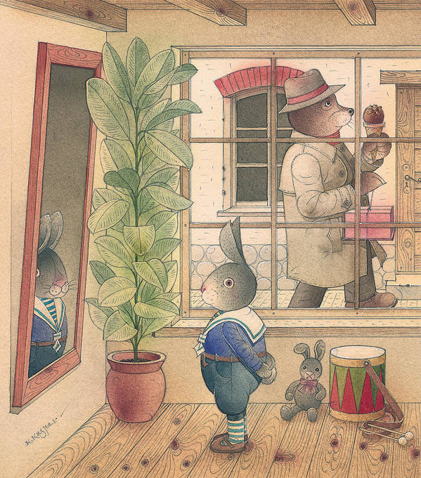 Rabbit Bear Delicious Town Birthday Art Print featuring the painting Rabbit Marcus The Great 07 by Kestutis Kasparavicius