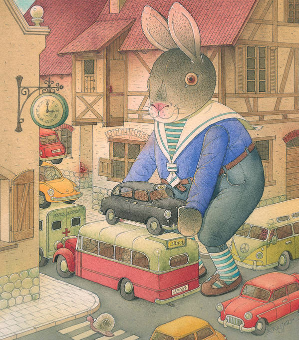 Rabbit Car Street Red Town Accident Art Print featuring the painting Rabbit Marcus The Great 18 by Kestutis Kasparavicius