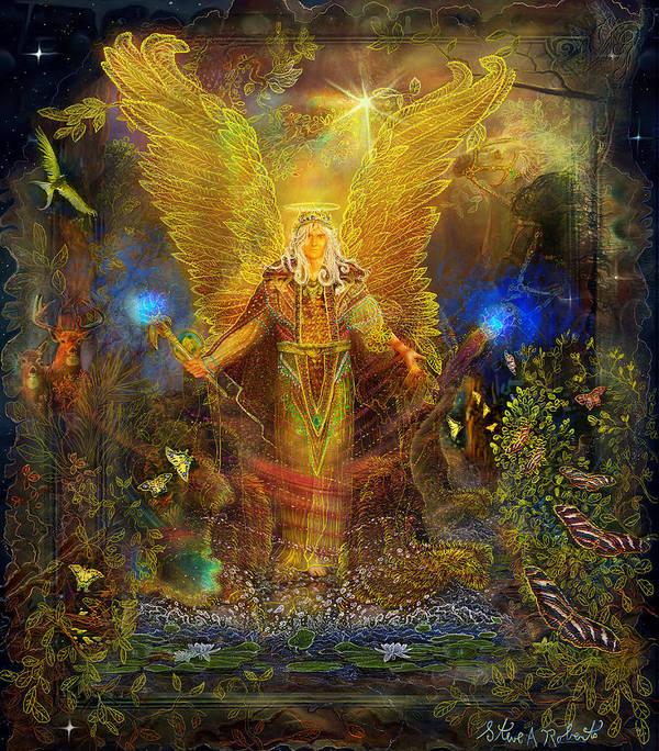 Angel Tarot Card Art Print featuring the painting Archangel Michael-angel Tarot Card by Steve Roberts