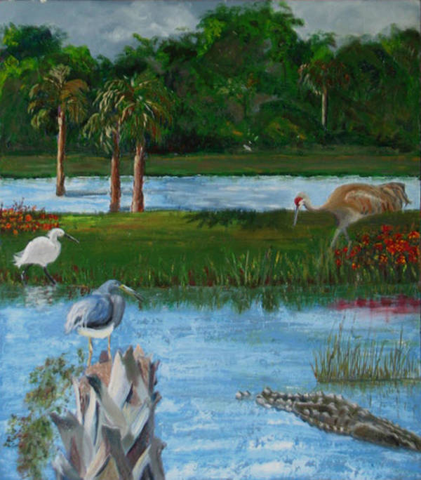 Marsh Art Print featuring the painting Dream Scene by Libby Cagle