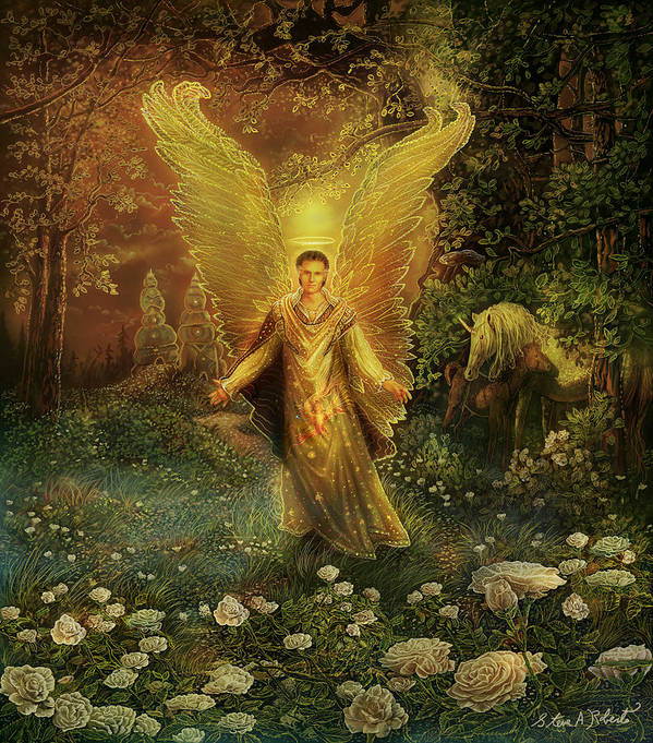 Angel Art Print featuring the painting Archangel Azrael by Steve Roberts