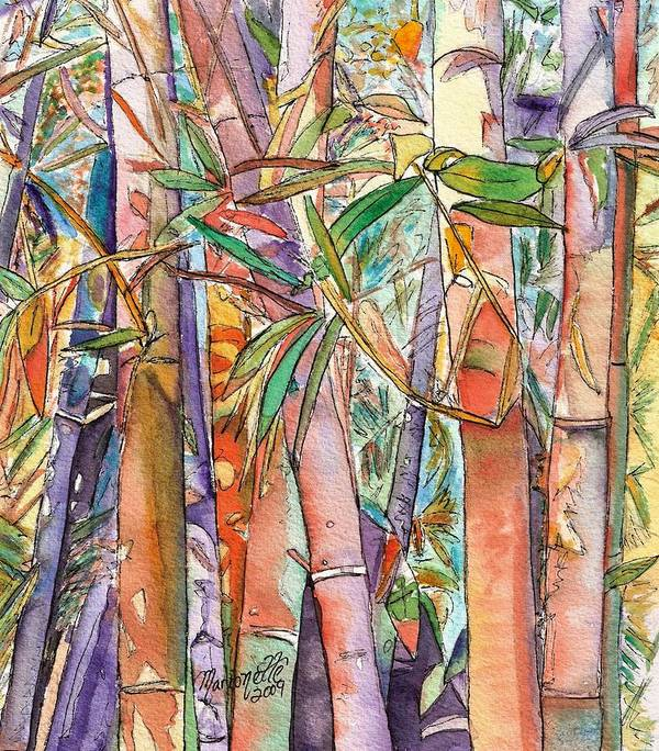Bamboo Print featuring the painting Autumn Bamboo by Marionette Taboniar