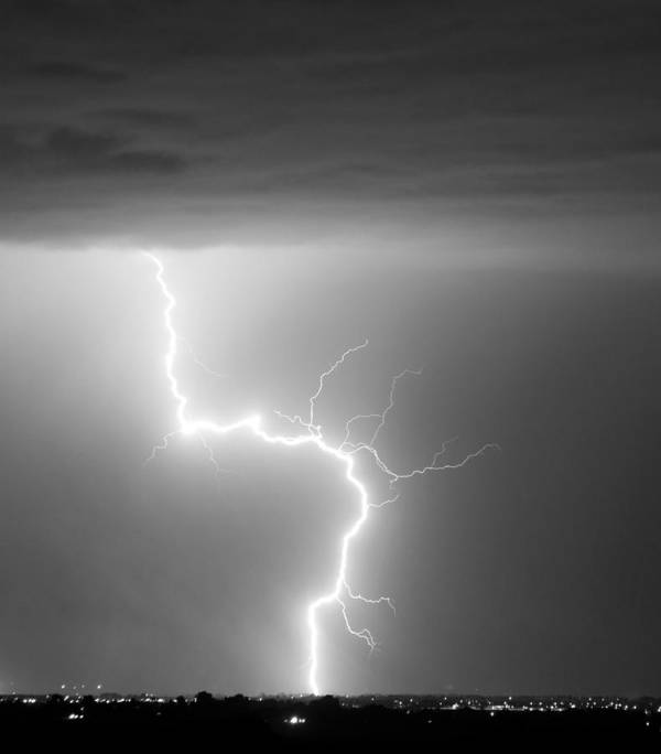 City Art Print featuring the photograph C2g Lightning Strike In Black And White by James BO Insogna