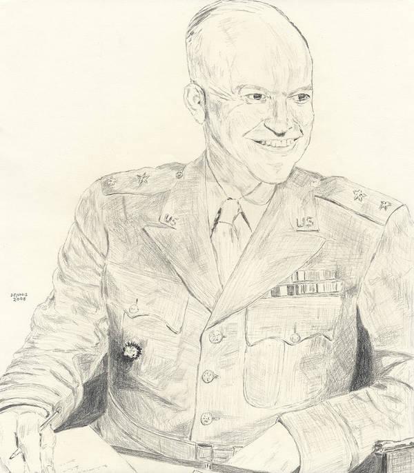 Dwight D. Eisenhower Art Print featuring the drawing Dwight David Eisenhower by Dennis Larson