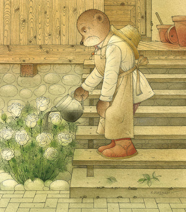 Bears Flowers Roses Magic Glamour Poison Brown Art Print featuring the painting Florentius The Gardener by Kestutis Kasparavicius
