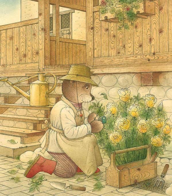 Bears Flowers Roses Garden Love Art Print featuring the painting Florentius The Gardener04 by Kestutis Kasparavicius