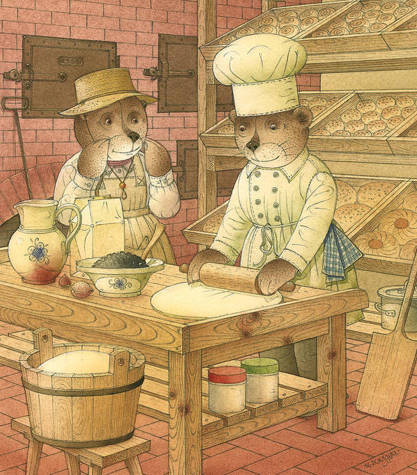 Bears Kitchen Magic Bakery Gastronome Red Art Print featuring the painting Florentius The Gardener14 by Kestutis Kasparavicius