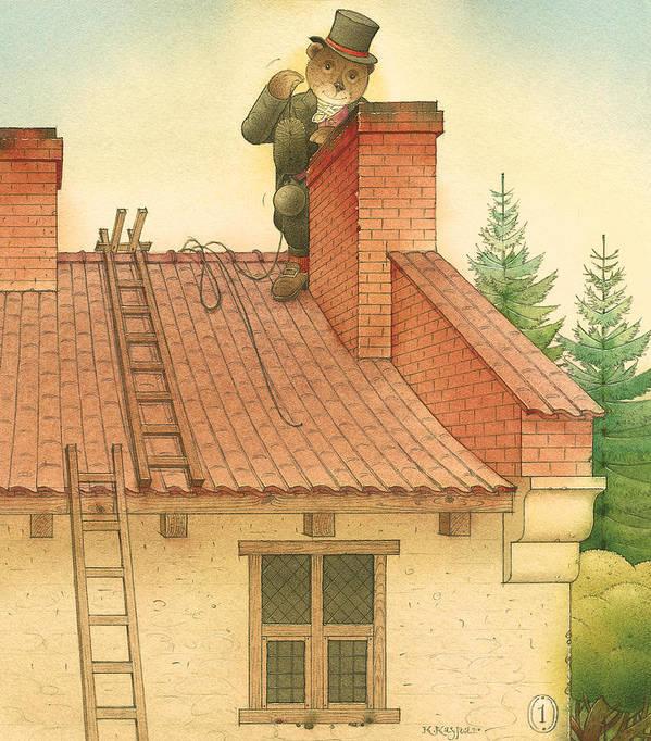 Bears Red Garden Chimney Sweep Art Print featuring the painting Florentius The Gardener27 by Kestutis Kasparavicius