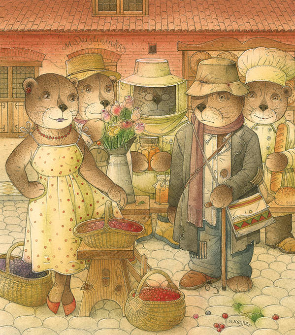 Love Bears Roses Flowers Town Berry Art Print featuring the painting Folrentius The Gardener07 by Kestutis Kasparavicius