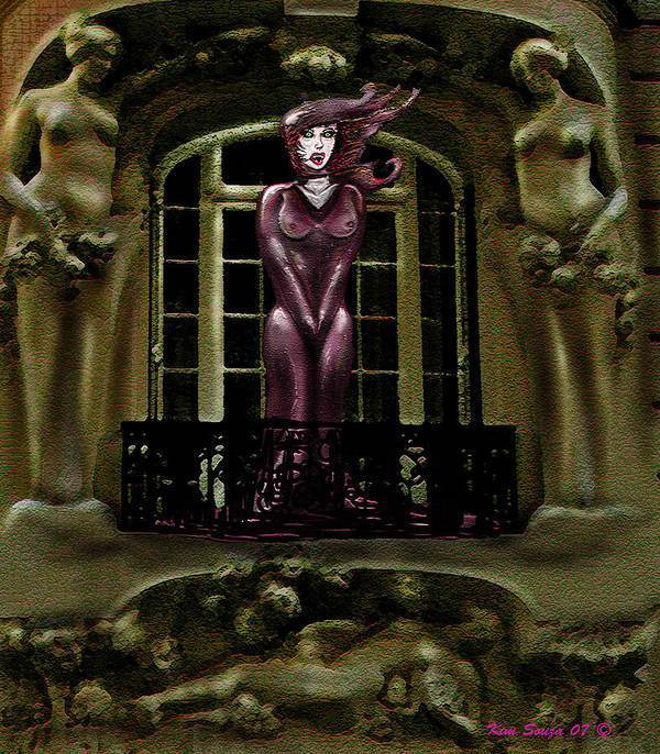 Vampires Art Print featuring the digital art French Quarter Vamp by Kim Souza