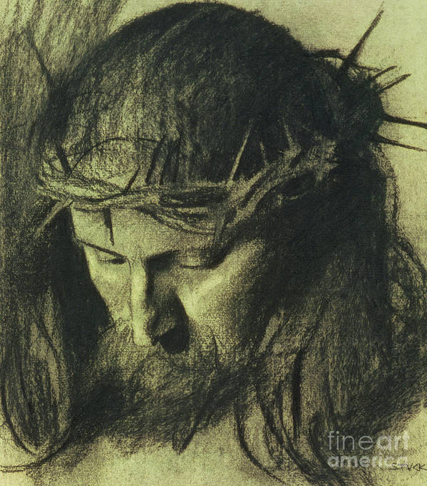 Head Of Christ Print featuring the drawing Head Of Christ by Franz Von Stuck