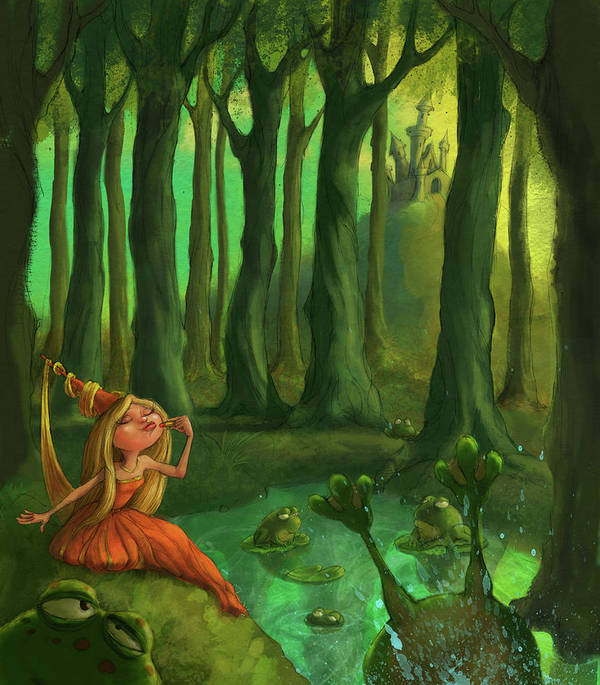 Princess Art Print featuring the digital art Kissing Frogs by Andy Catling