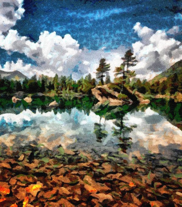 Digital Painting Art Print featuring the photograph Lake Island View by Mario Carini