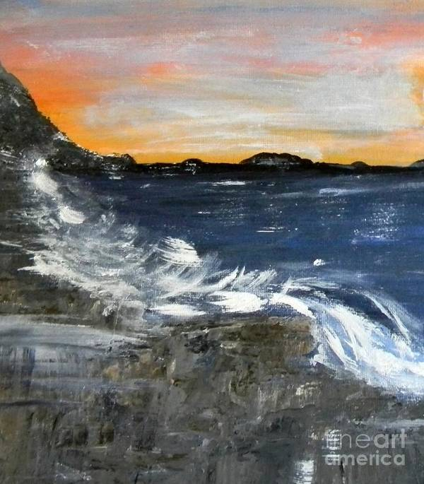Maine Art Print featuring the painting Maine Coast by Owl's View Studio
